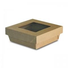 Barquette kraft brun 500 ml ingraissable avec fenêtre - par 50
