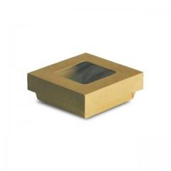 Barquette kraft brun 250 ml ingraissable avec fenêtre - par 25