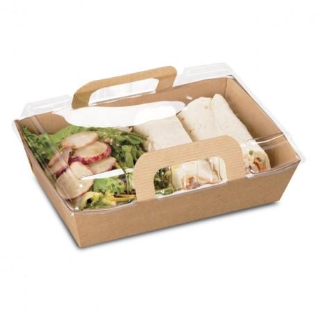 Panier kraft brun ingraissable pour salade avec couvercle - par 100