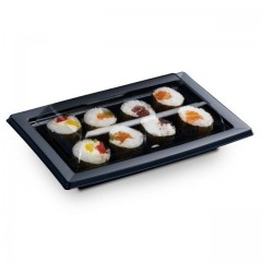 Boîte noire pour sushi QUADRIPACK 17 x 10,5 cm avec couvercle - par 25