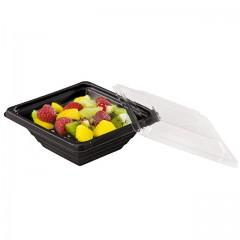 Barquette salade Pyramipack noire 250 ml avec couvercle indépendant - par 40