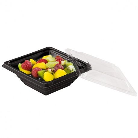 Barquette salade Pyramipack noire 250 gr avec couvercle indépendant - par 40