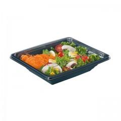 Barquette salade Pyramipack noire 750 ml avec couvercle indépendant - par 40