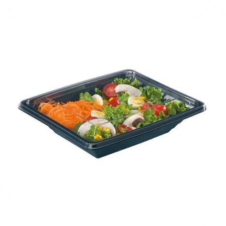 Boite salade Pyramipack noire 750 gr avec couvercle indépendant - par 40