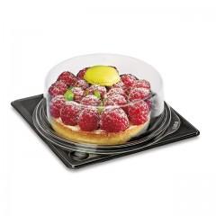Part de tarte ronde fond noir avec couvercle transparent - par 30