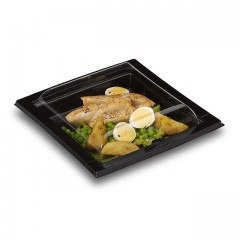 Boîte noire pour sushi QUADRIPACK 17 x 17 cm avec couvercle - par 25