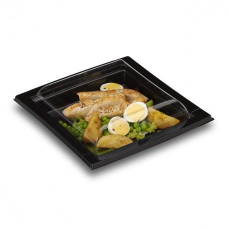 Boîte noire pour sushi 17 x 17 cm avec couvercle - par 25