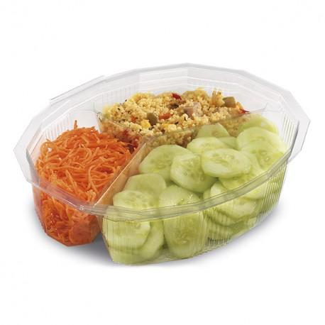 Boite à salade Multipack 900 gr 3 compartiments avec couvercle à charnière - par 150