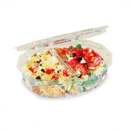 Boite à salade multipack 700 gr 2 compartiments avec couvercle à charnière - par 270