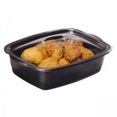Barquette Marmipack noire avec couvercle indépendant 1800 ml - par 200