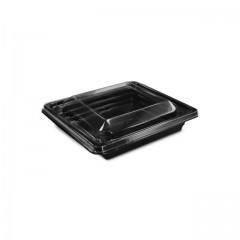 Barquette salade Pyramipack noire 180 ml avec couvercle indépendant - par 400