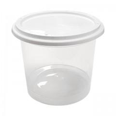 Pot plastique PP transparent avec couvercle 500 ml - par 250