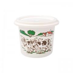 """Pot plastique PP blanc """"crème fraîche"""" avec couvercle 125 ml - par 250"""