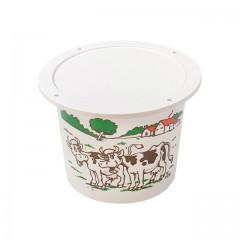 """Pot plastique PP blanc """"crème fraîche"""" avec couvercle 250 ml - par 250"""
