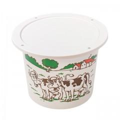 """Pot plastique blanc """"crème fraîche"""" avec couvercle 500 ml - par 250"""