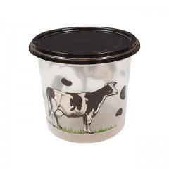 """Pot plastique PP transparent """"produits laitiers"""" avec couvercle noir 250 ml - par 250"""