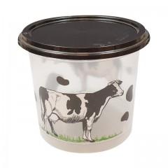 """Pot plastique PP transparent """"produits laitiers"""" avec couvercle noir 500 ml - par 250"""