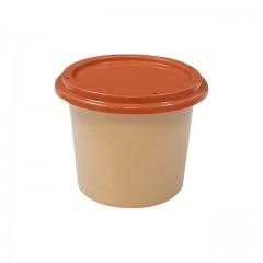 Pot plastique PP grès avec couvercle marron 125 ml - par 250