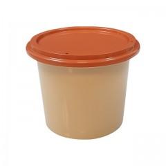Pot plastique PP grès avec couvercle marron 250 ml - par 250