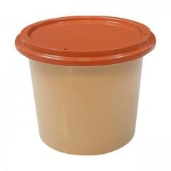 Pot plastique PP grès avec couvercle marron 500 ml - par 250