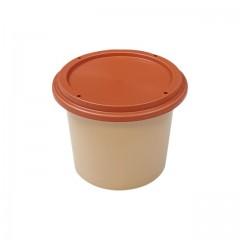 Pot plastique grès avec couvercle marron 125 ml - par 250