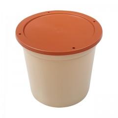 Pot plastique grès avec couvercle marron 500 ml - par 250