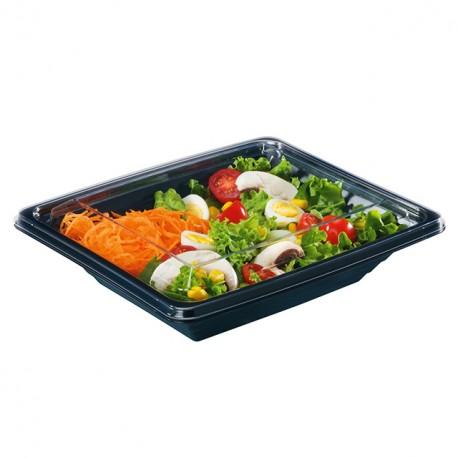 Barquette salade Pyramipack noire 500 gr avec couvercle indépendant - par 40
