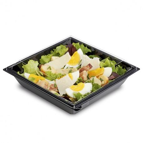 Boite plastique à salade TAKIPACK noire 850 ml avec couvercle