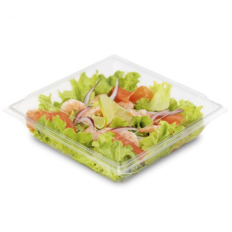 Boite plastique à salade TAKIPACK transparente 850 ml avec couvercle
