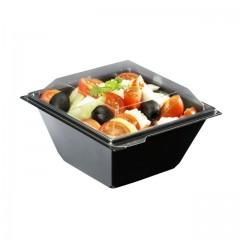 Boite à salade FESHIPACK noire 500 ml avec couvercle - par 360