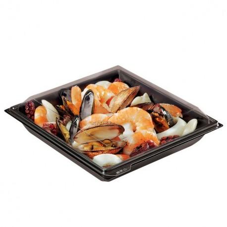 Boite plastique à salade TAKIPACK noire 700 gr avec couvercle