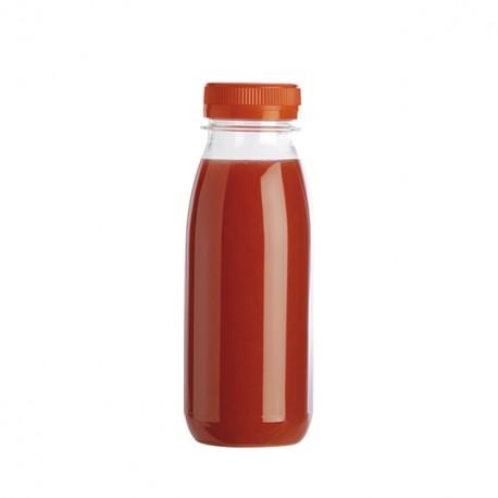 Bouteille jetable en plastique 25 cl avec bouchon orange