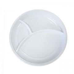 Assiette plastique ronde 22 cm blanche 3 compartiments - par 100