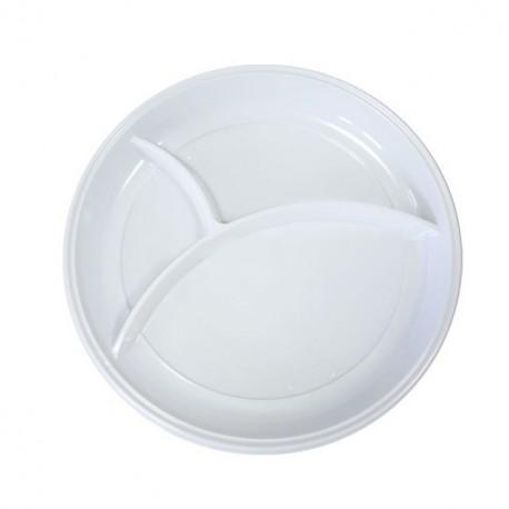 Assiette plastique ronde 22cm blanche 3 compartiments - par 100