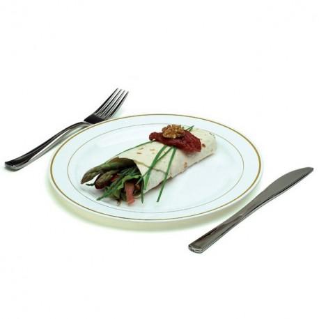 Assiette Mozaik 23 cm blanche avec liseré or - par 20