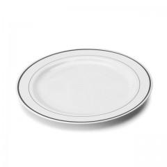 Assiette Mozaik 23 cm blanche avec liseré argent - par 20