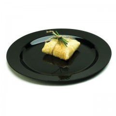 Assiette ronde noire MOZAIK diamètre 19 cm - par 20