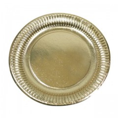 Assiette ronde en carton or Ø 12,5 cm - par 50