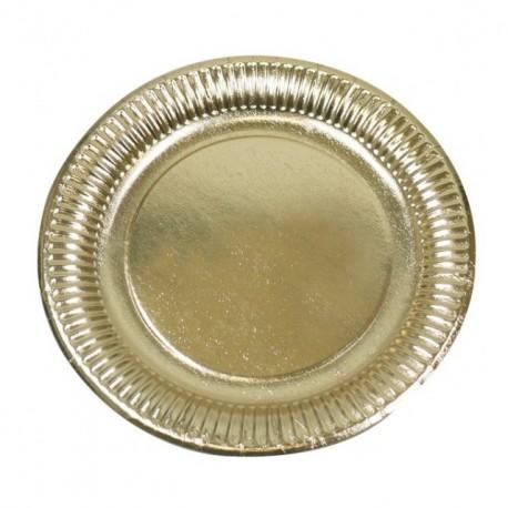 Assiette ronde en carton or diamètre 23 cm - paquet de 50