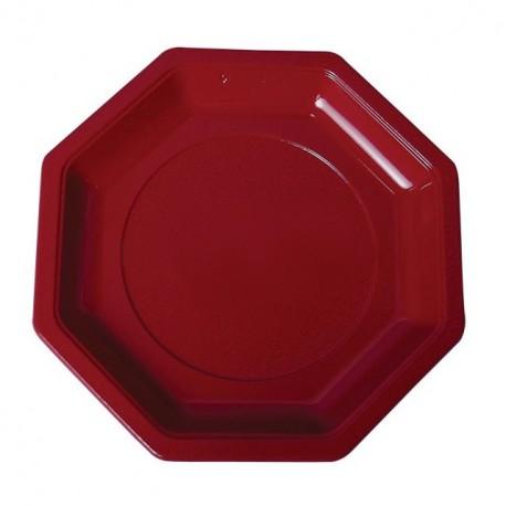 Assiette plastique octogonale 24 cm bordeaux