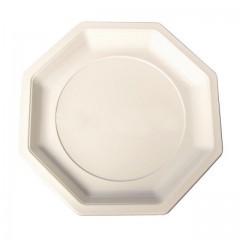 Assiette plastique octogonale 24 cm ivoire