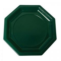 Assiette plastique octogonale 18,5 cm verte foncée