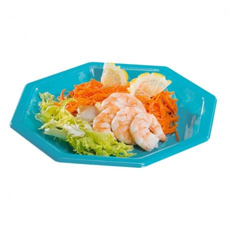 Assiette plastique octogonale 18,5 cm turquoise
