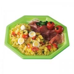 Assiette plastique octogonale 18,5 cm verte anis