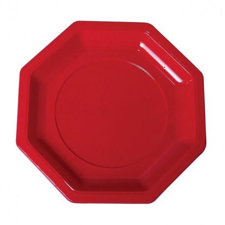 Assiette plastique octogonale 18,5 cm rouge