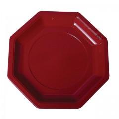 Assiette plastique octogonale 18,5 cm bordeaux