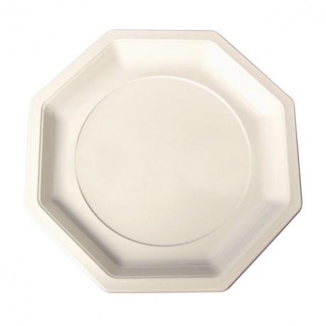 Assiette plastique octogonale 18,5 cm ivoire