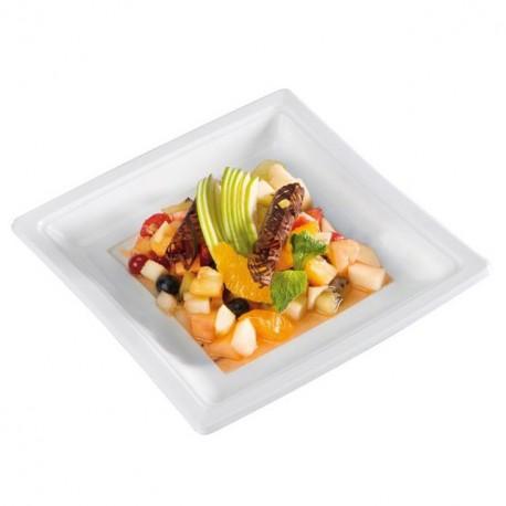 Assiette carrée blanche 18,5 cm en plastique - par 50