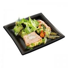 Assiette carrée noire 24 cm en plastique - par 400