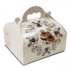 Boîte pâtissière avec poignée 20 x 18 x 7 cm décor BAROQUE- par 50